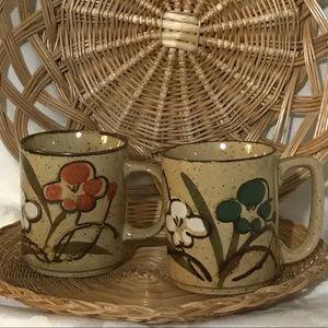 Vintage Boho Ceramic Mug Pair
